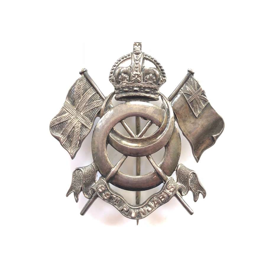 Indian Army 89th Punjabis hallmarked silver Officer's pagri badge.