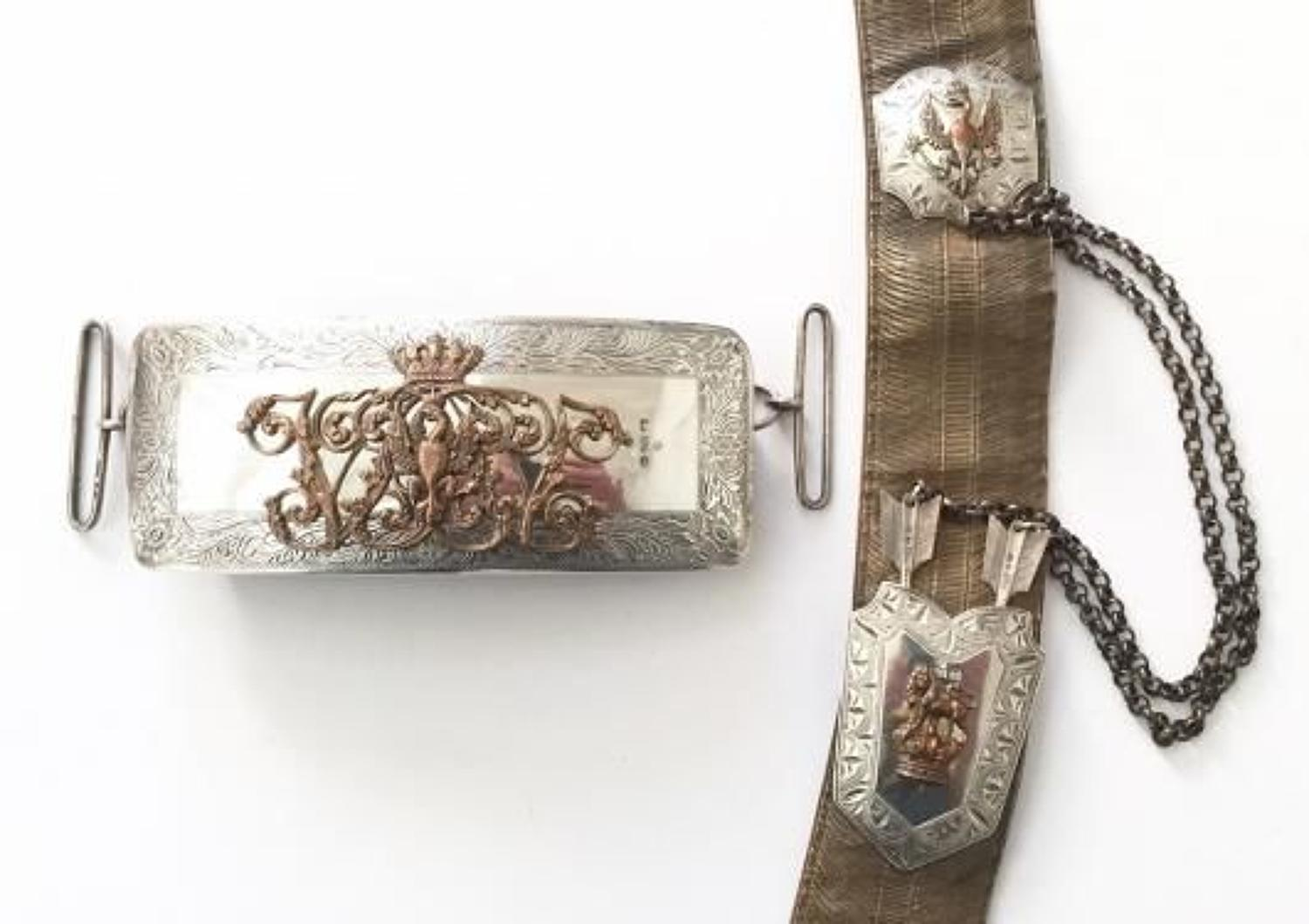 14th (King's) Hussars 1870 hallmarked silver pouch and pouch belt.