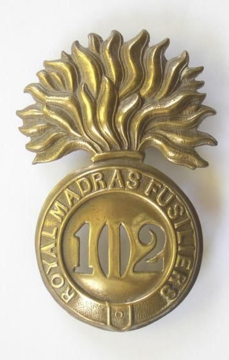 102nd Royal Madras Fusiliers Victorian glengarry badge circa 1874-81.