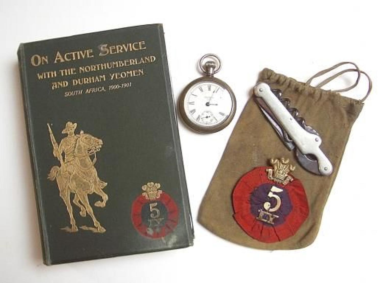 Boer War 5th IY Rosette, signed unit history, pochet watch & knife
