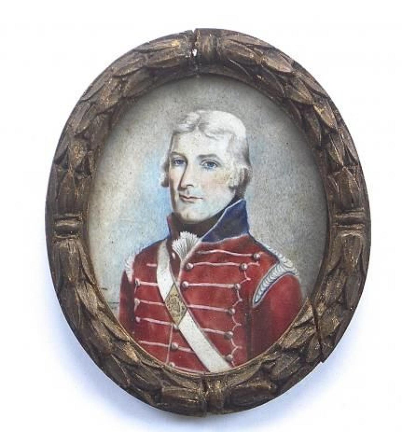 Irish: Napoleonic War Castleblaney Cavalry Portrait Miniature.