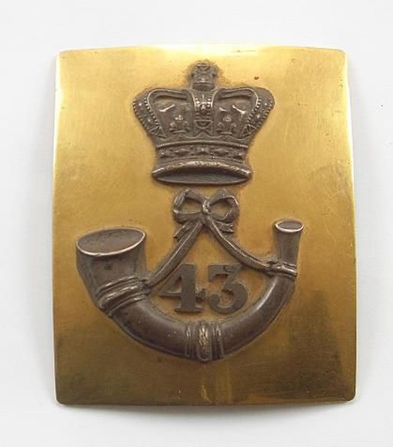 43rd Foot (Monmouthshire) Officer's pre 1855 shoulder belt plate