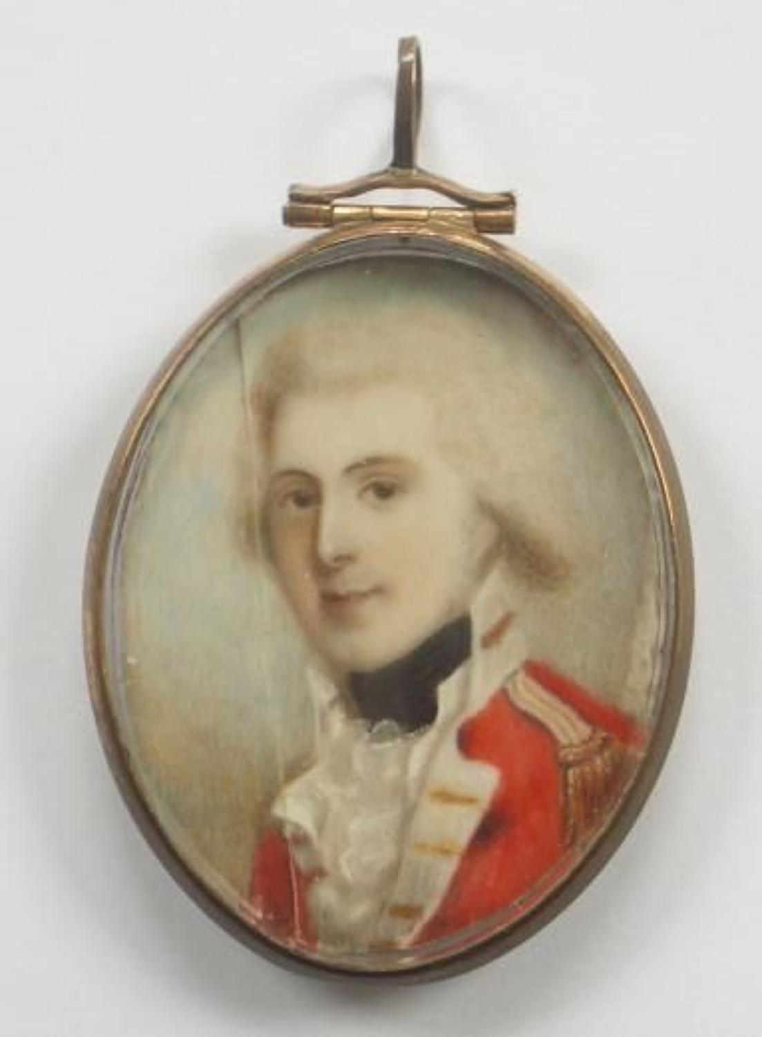 Late 18th Century Military Miniature Portrait.