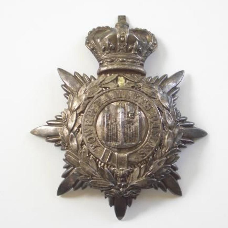 Tower Hamlets Rifles Victorian Officer's helmet plate.