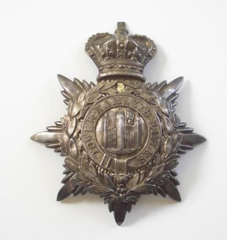 Tower Hamlets Rifles Victorian Officer's helmet plate.