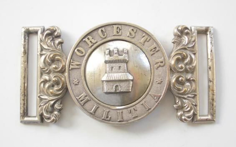 Worcester Militia Victorian Officer's waist belt plate circa 1855-81