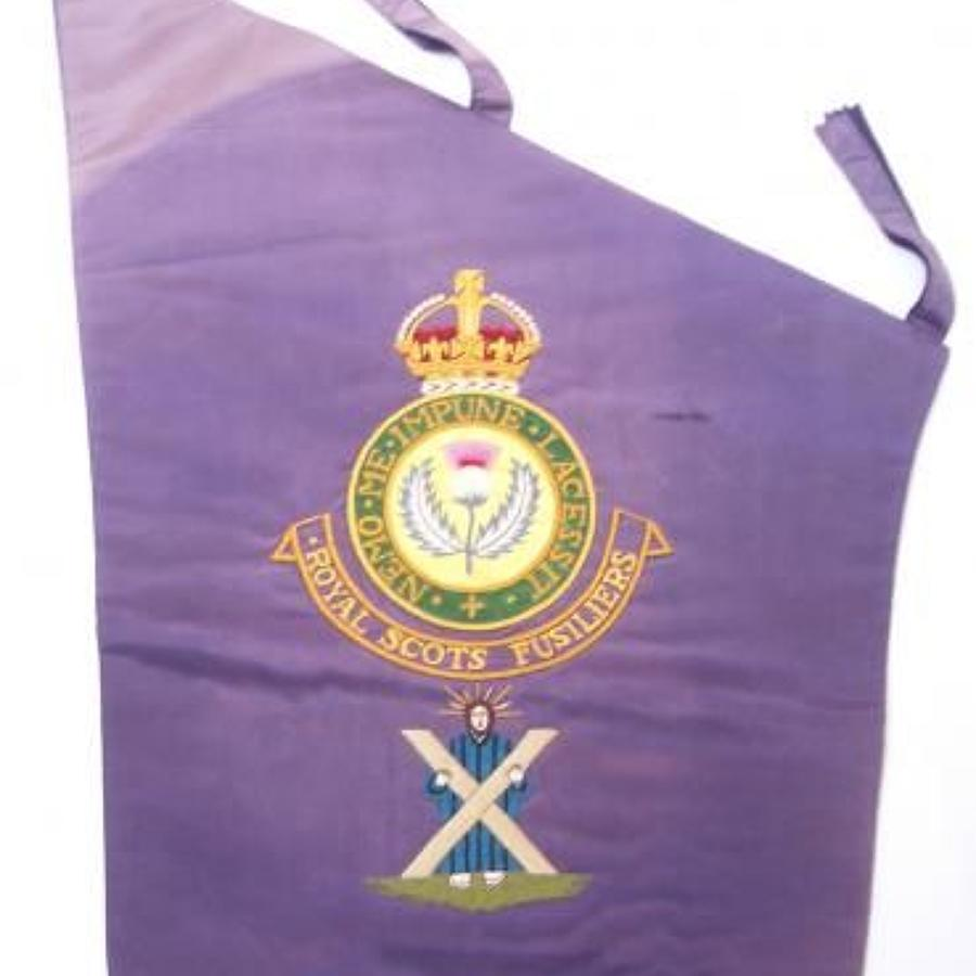 Scottish. Royal Scots Fusiliers pre 1952 pipe banner.