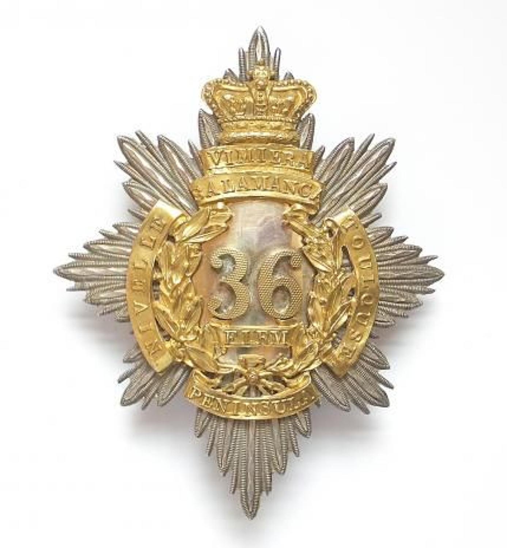 """36th (Herefordshire) Regiment Officer's """"Regency"""" shako plate"""