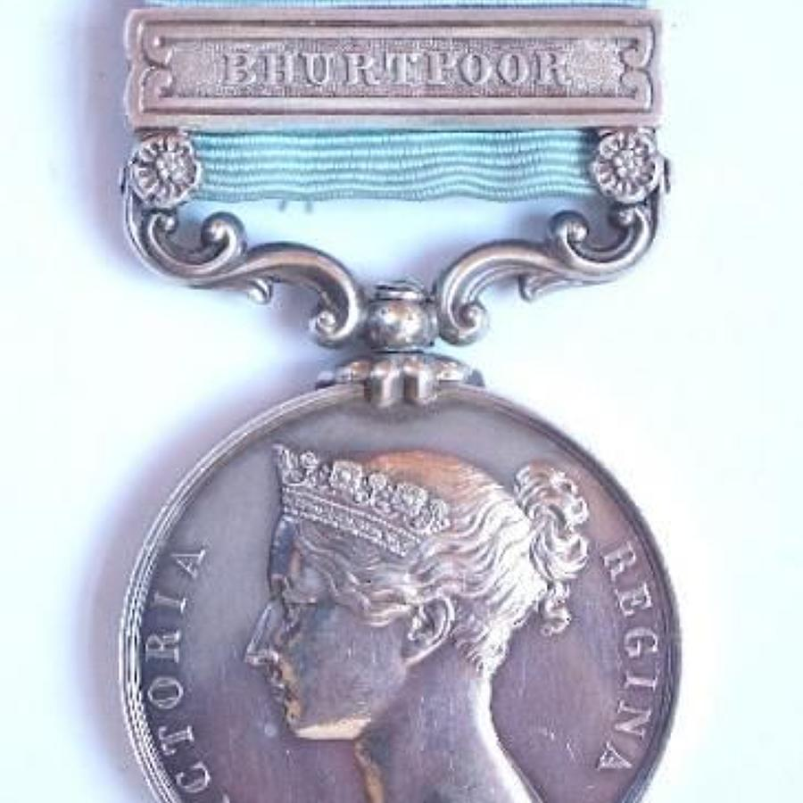 Army of India Medal 1799-1826, clasp  Bhurtpoor to 14th Foot.