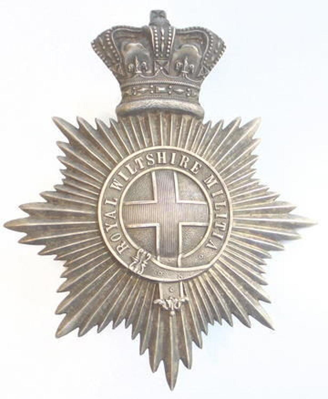Royal Wiltshire Militia Victorian Officer's shako plate circa 1861-6