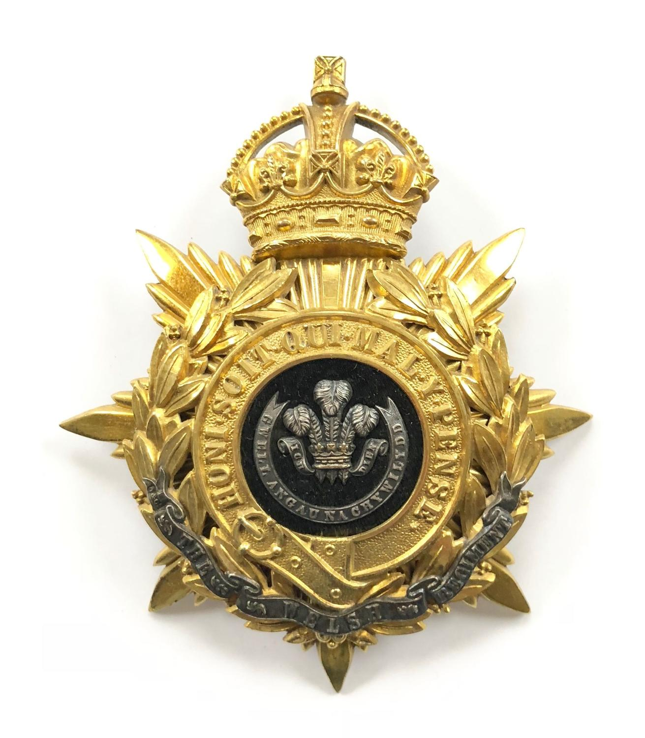 The Welsh Regiment Officer's helmet plate circa 1902-14