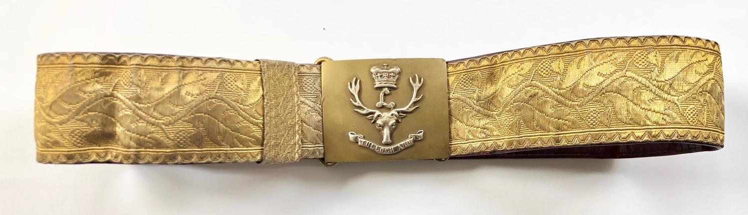 Scottish. Seaforth Highlanders Officer's gold lace dirk belt
