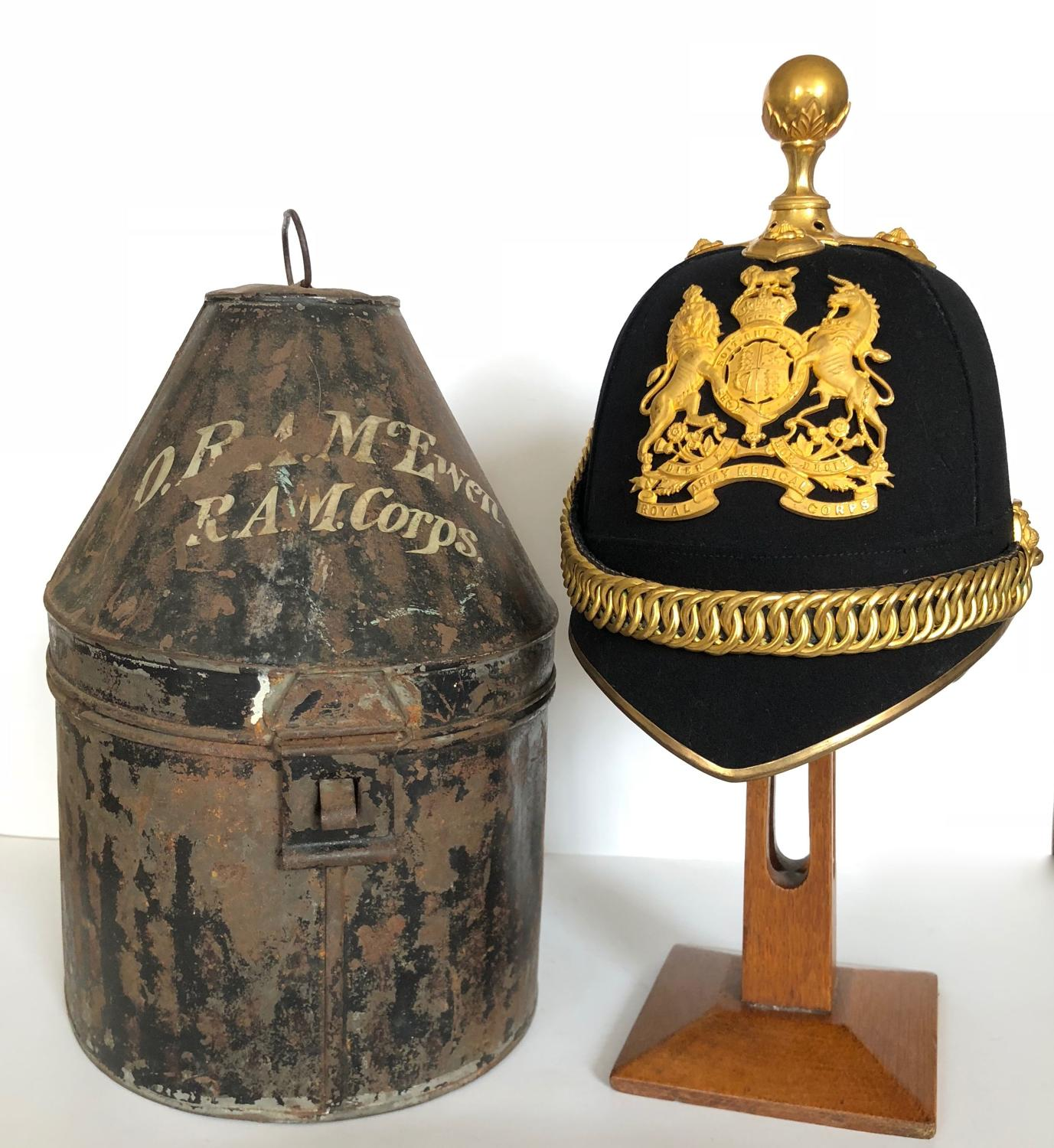 RAMC / Cheshire Regiment Officer's Home Service Pattern Helmet.