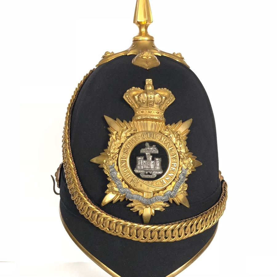 Victorian Essex Regiment Officer's Home Service Pattern Helmet.