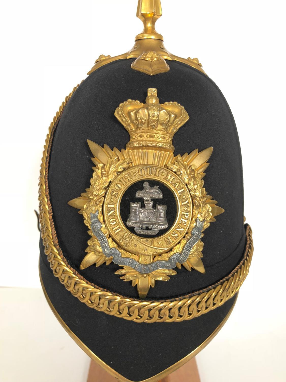 Victorian Essex Regiment Officer's Home Service Pattern Helmet.