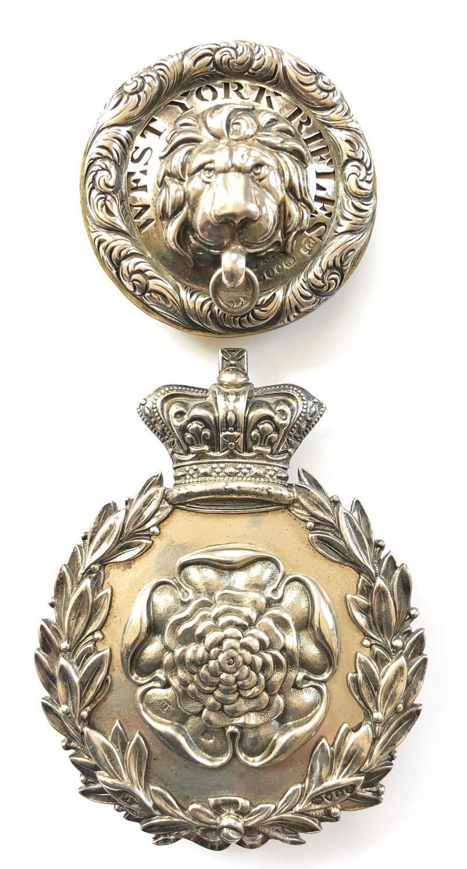 1st West York Rifles Victorian Officer's HM silver pouch belt & boss