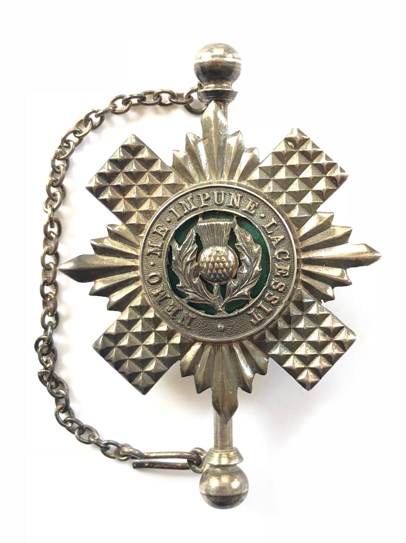 Scots Guards Piper's 1970 hallmarked silver kilt pin.