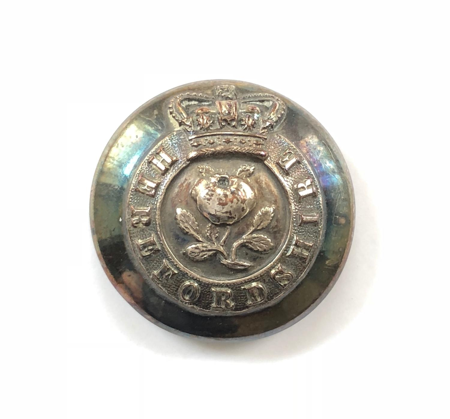 Hereford Militia Officer's silvered closed-back coatee button