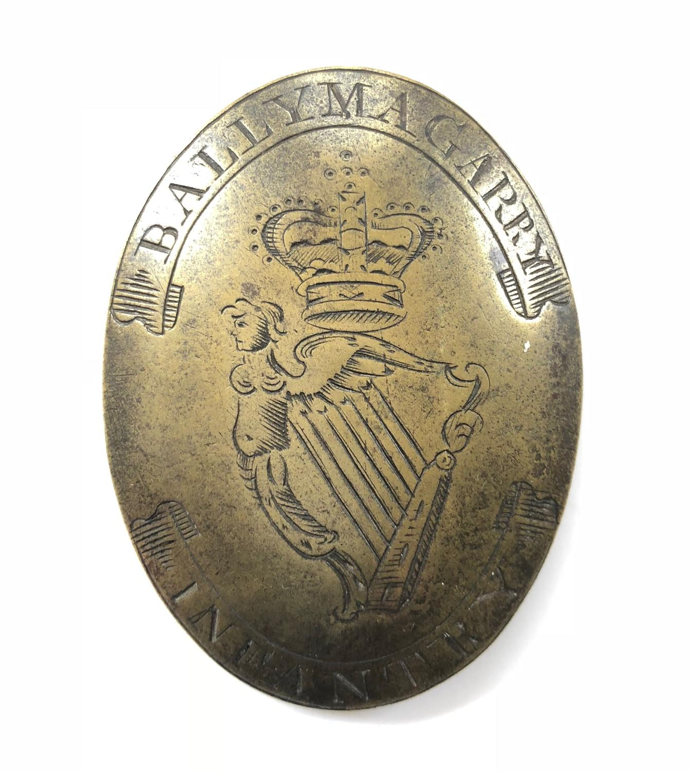Irish Volunteers Ballymagarry Infantry shoulder belt plate circa 1790