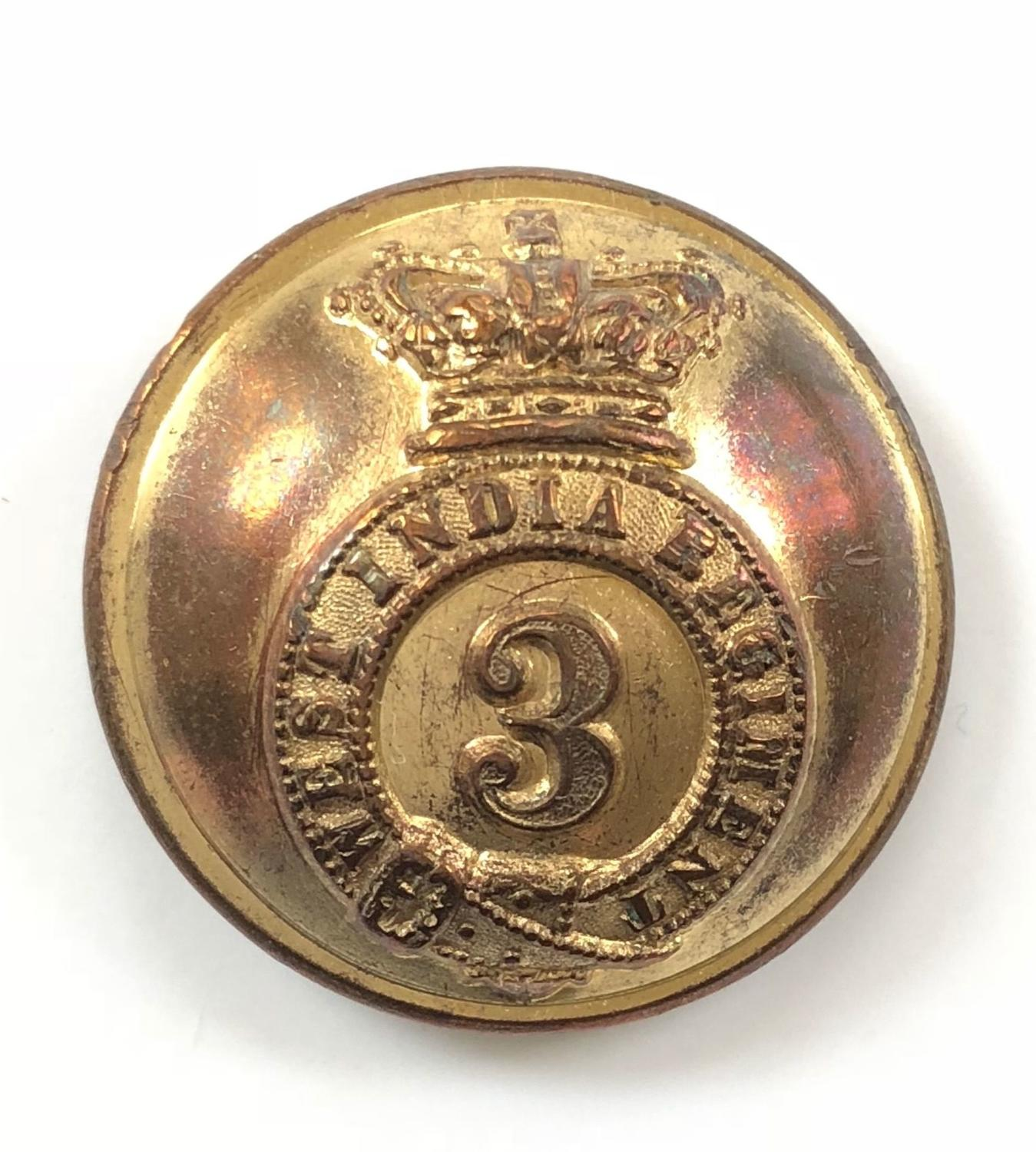 3rd West India Regiment Victorian Officer's gilt tunic button