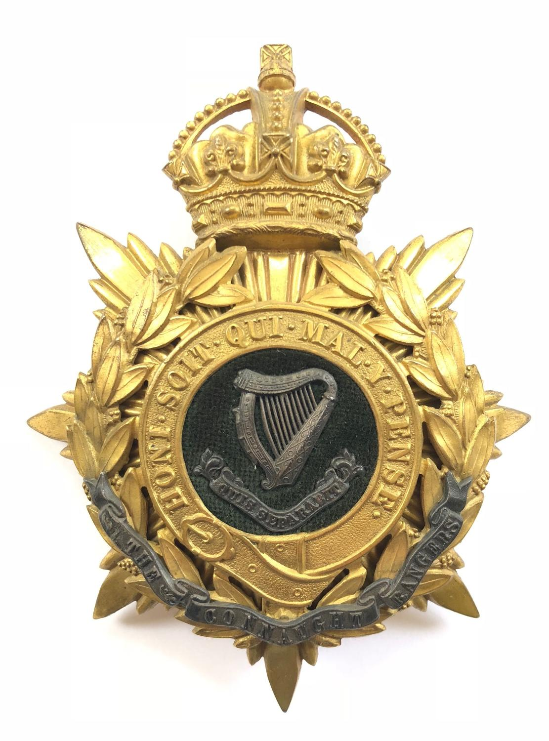 Connaught Rangers Officer's helmet plate circa 1901-22