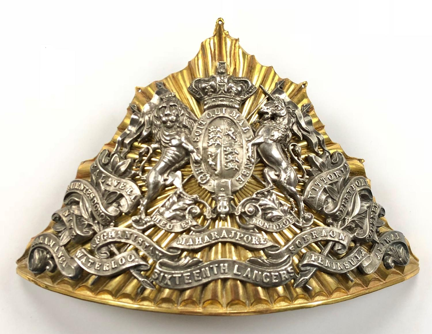 16th The Queen's Lancers Victorian Officer's lance cap plate