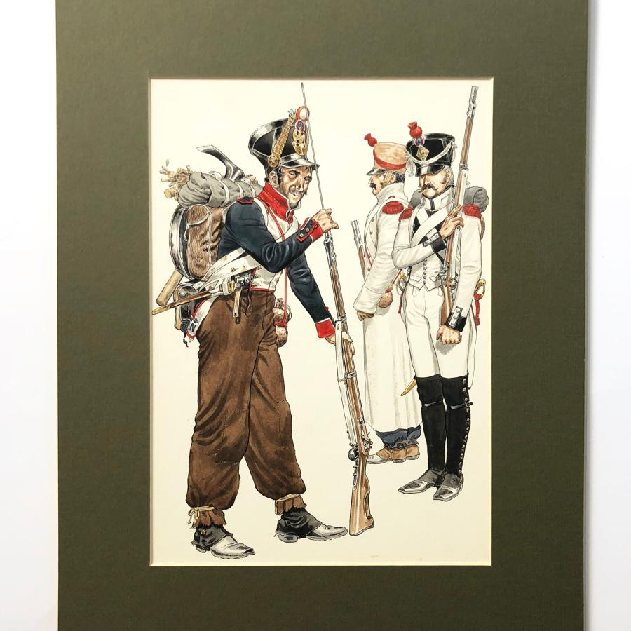 Michael Chappell Original Watercolour Painting of French Infantry.