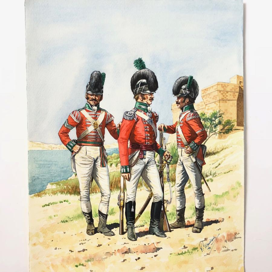 His Majesty's Sicialian Regiment Circa 1800 Watercolour R.J. Marrion