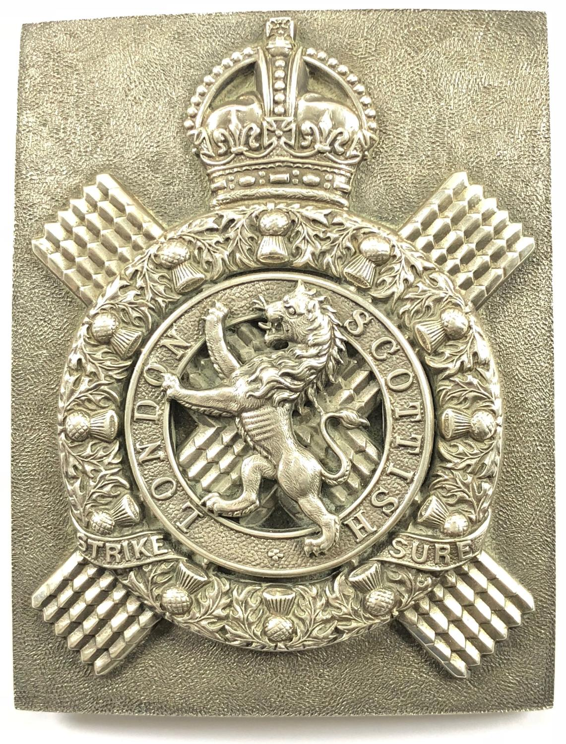 London Scottish Officer's silver shoulder belt plate circa 1910