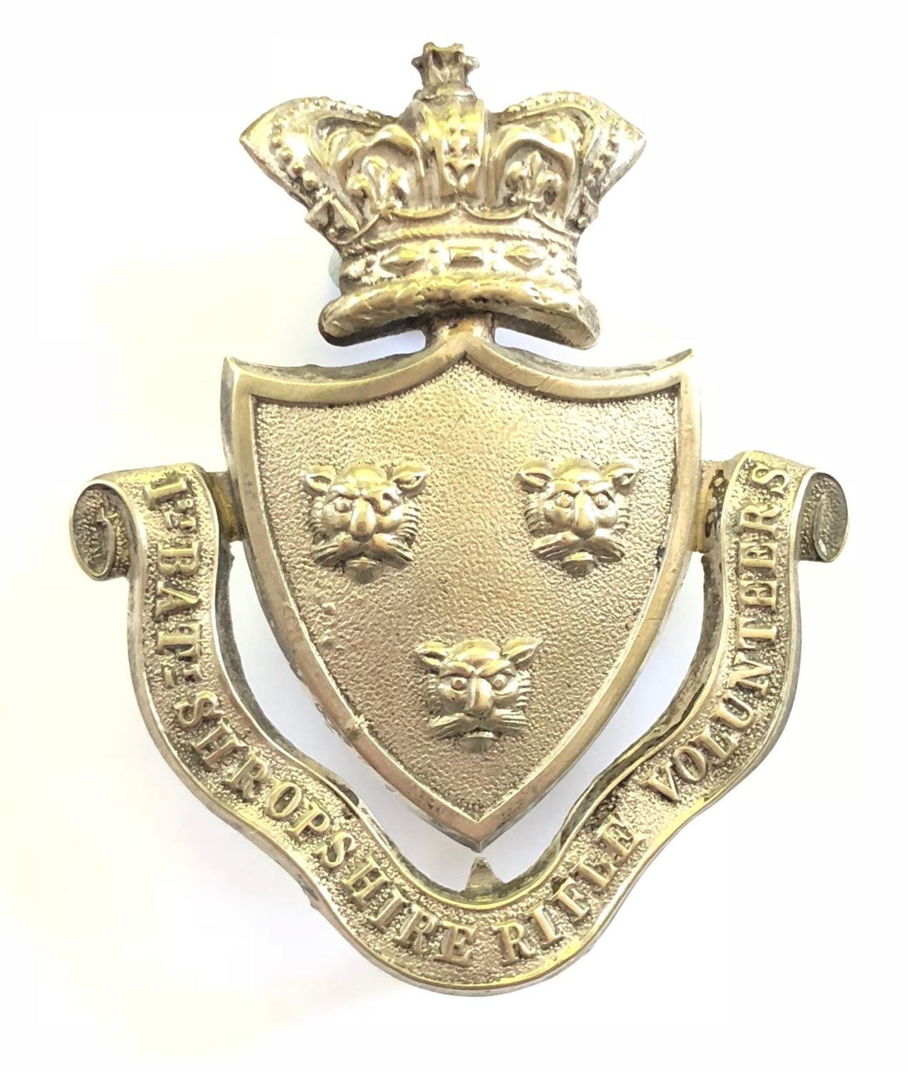 1st Bn. Shropshire Rifle Vols. Victorian Officer's pouch belt plate.