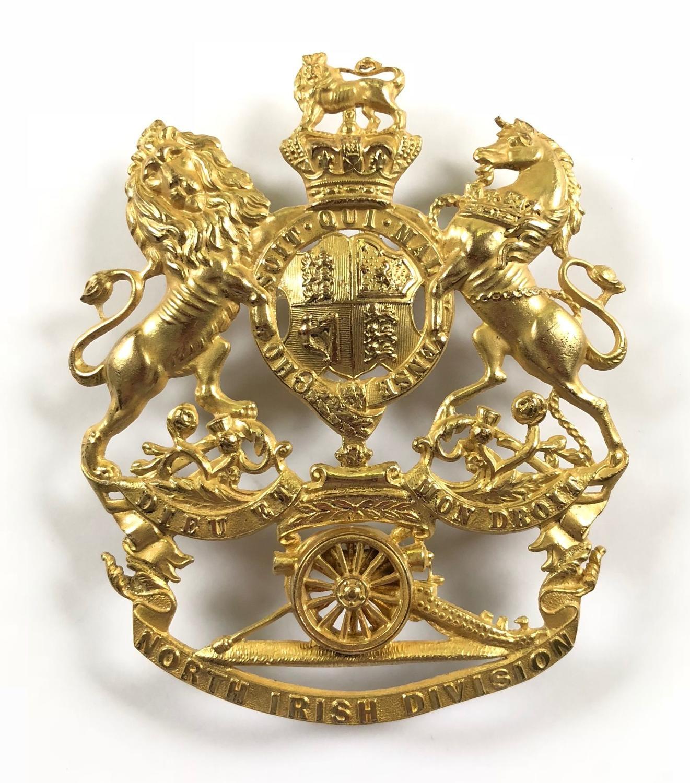 North Irish Division Artillery Victorian Officer's helmet plate