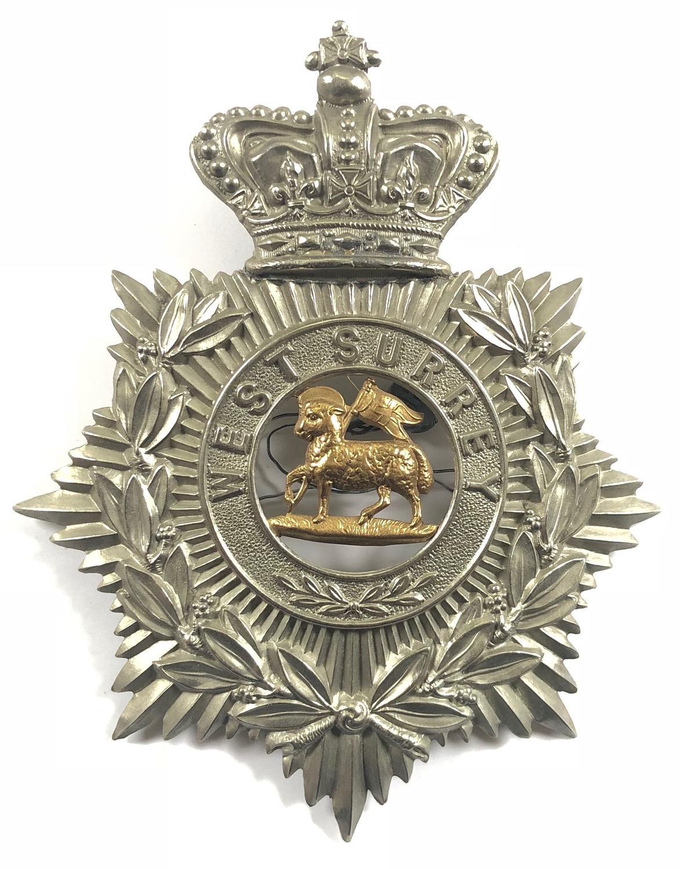 3rd (Militia) Bn Queen's R.W. Surrey Regiment Victorian helmet plate