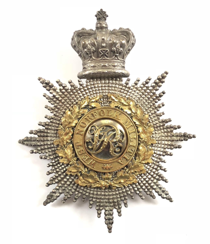 West Norfolk Militia Victorian Officer's shako plate
