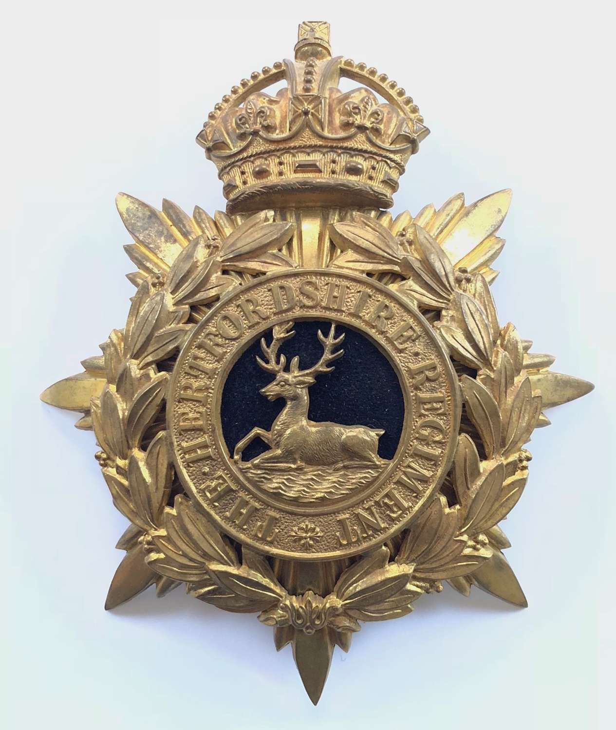 Hertfordshire Regiment Officer's helmet plate circa 1909-14