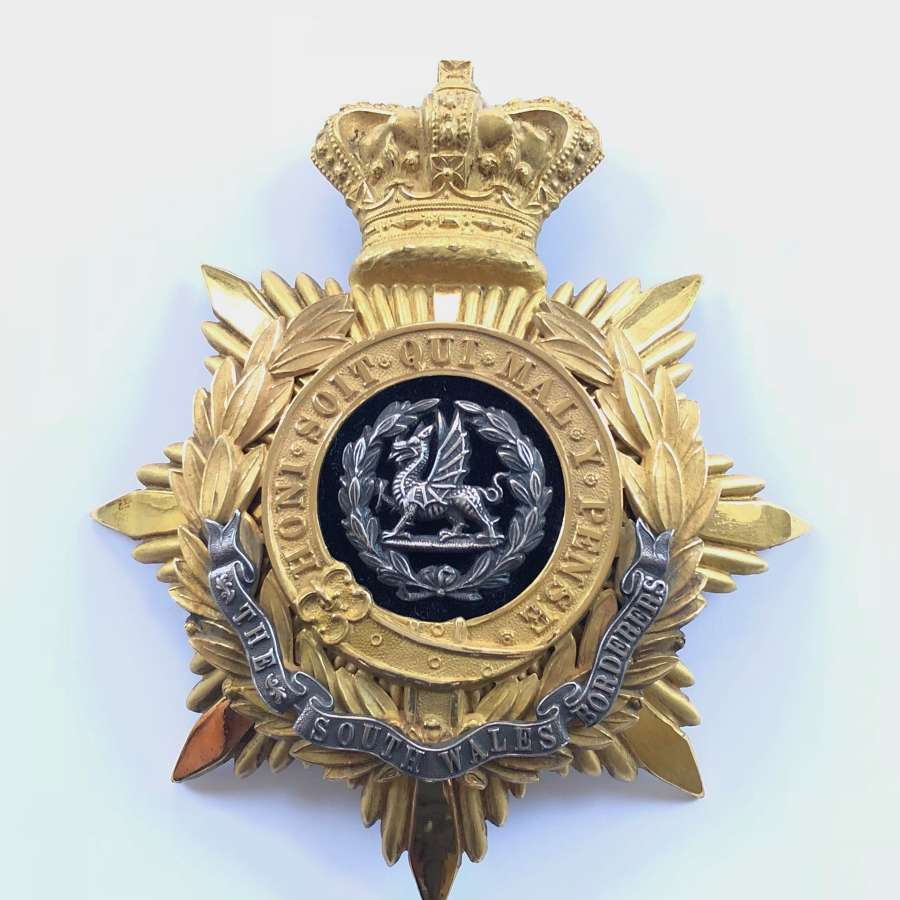 South Wales Borderers Victorian Officer's helmet plate circa 1881-19