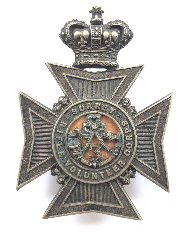 3rd Surrey Rifle Volunteer Corps Victorian Officer's helmet plat