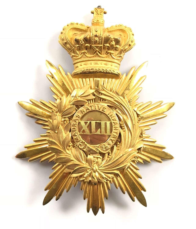 42nd Madras Native Infantry Victorian Officer's 'Albert' shako plate