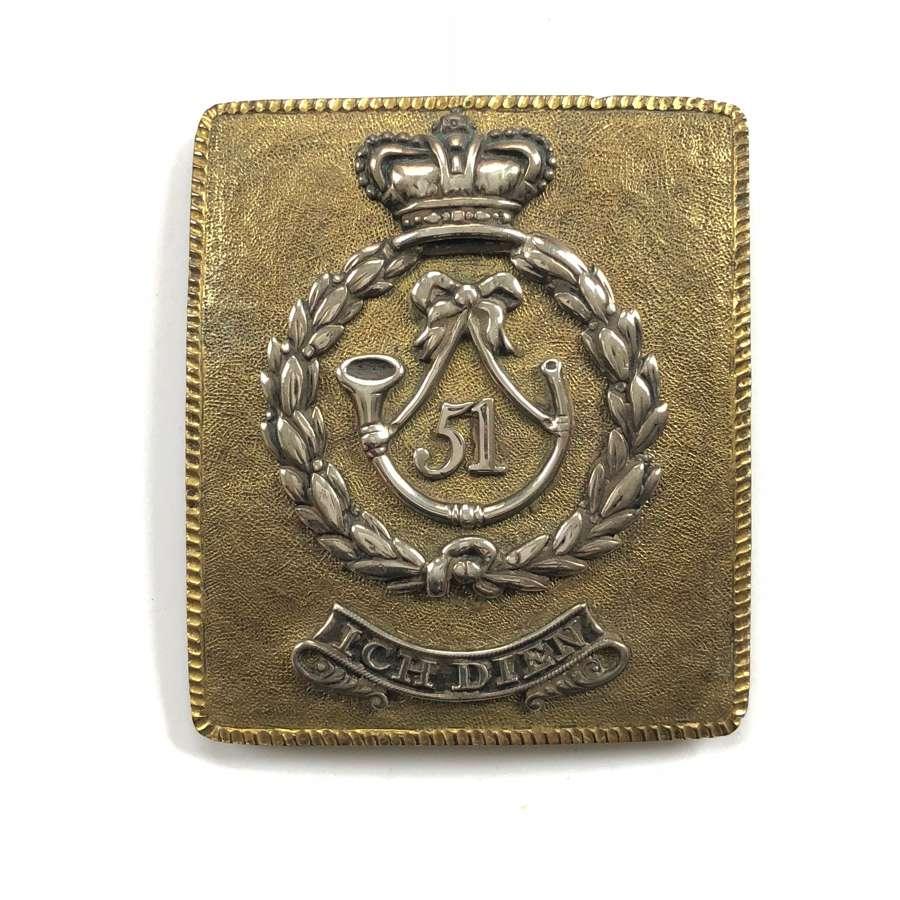 51st (2nd Yorks, W Riding) Officer's shoulder belt plate c 1821.