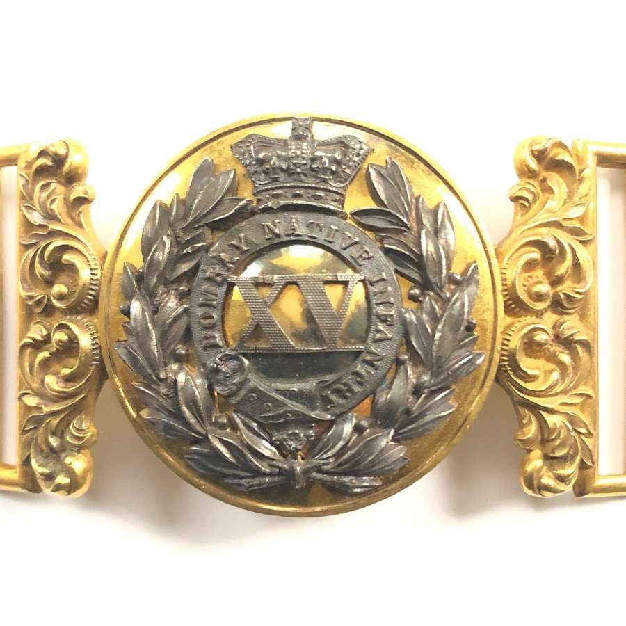 15th Bombay Native Infantry Victorian Officer's waist belt clasp