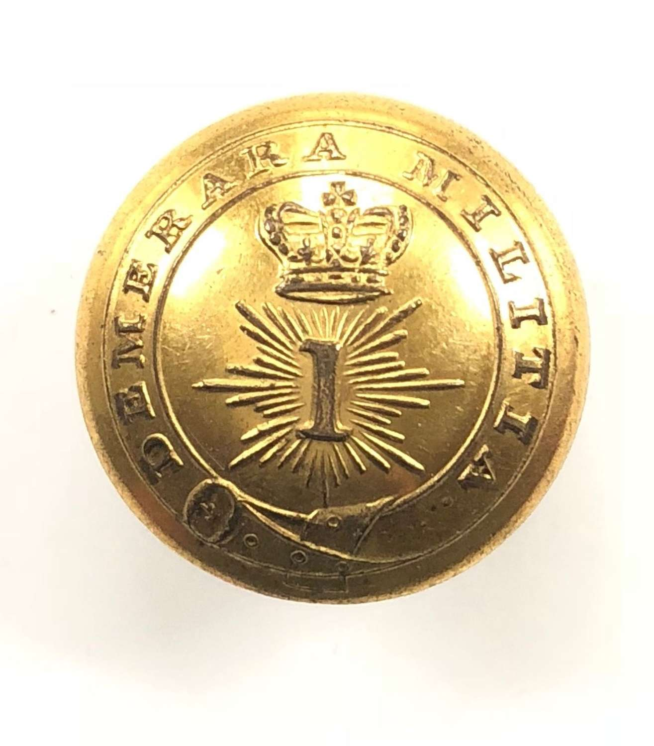 British Guiana. 1st Demerara Militia gilt open-bach coatee button