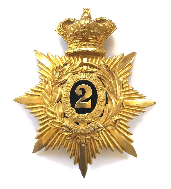 2nd West India Regiment Victorian Officer's helmet plate c1881-1901