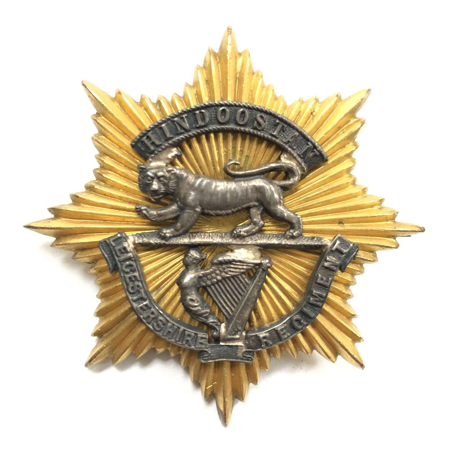 Leicestershire Regiment Victorian Officer's forage cap badge