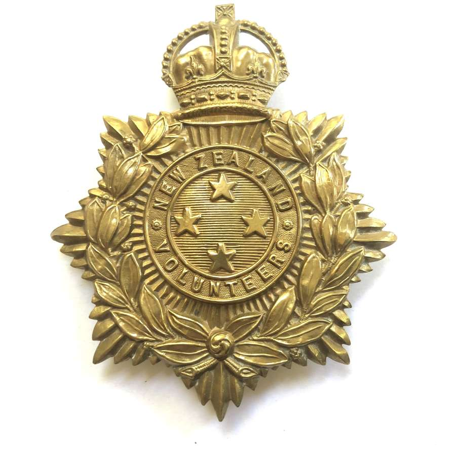 New Zealand Volunteers Edwardian OR's helmet plate circa 1902-08