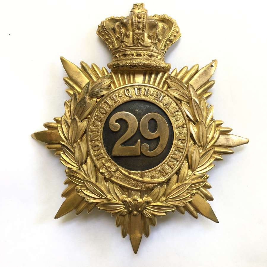 29th (Worcestershire) Foot Victorian Officer's helmet plate