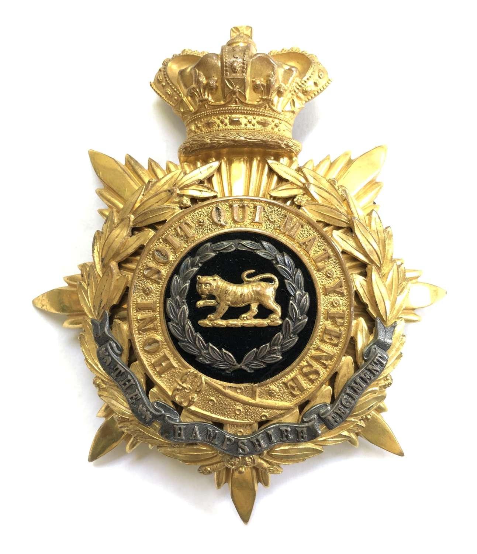 Hampshire Regiment Victorian Officer's helmet plate circa 1881-1901