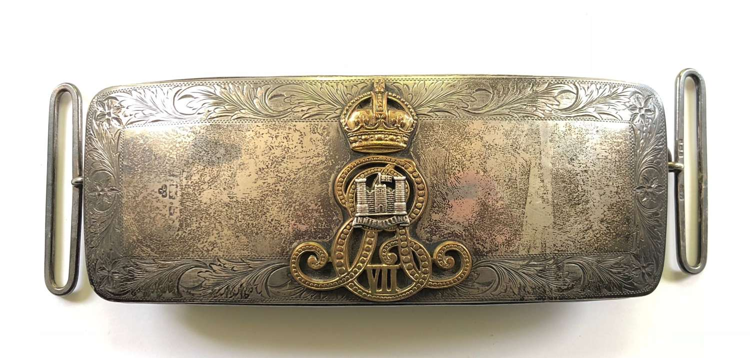 6th Inniskilling Dragoons Edwardian Officer's 1901 HM silver pouch