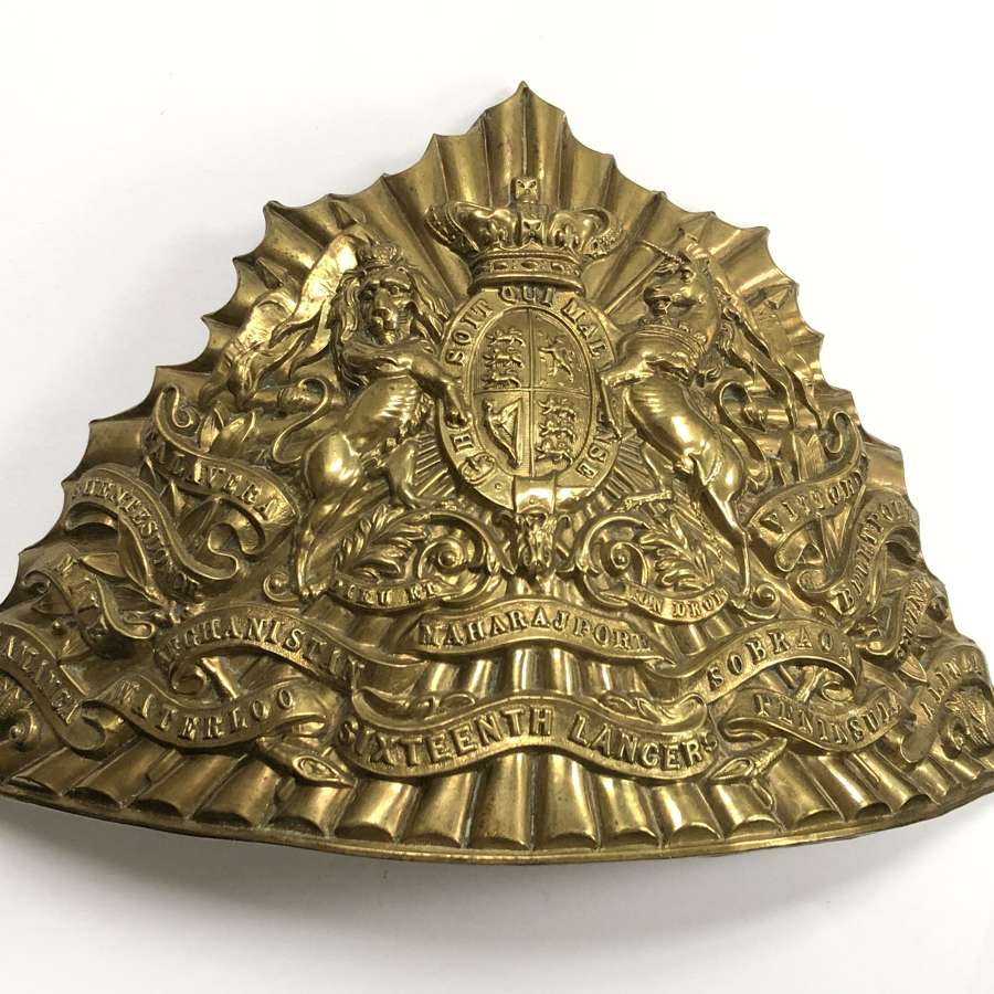 16th Queen's Lancers Victorian lance cap plate