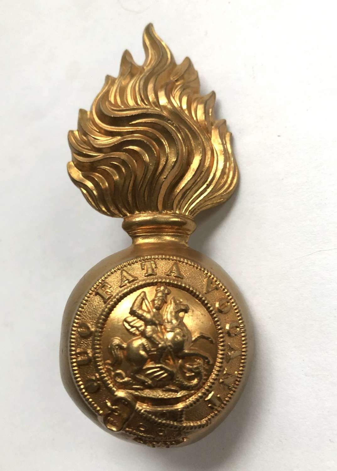 Northumberland Fusiliers post 1881 brass fur cap grenade