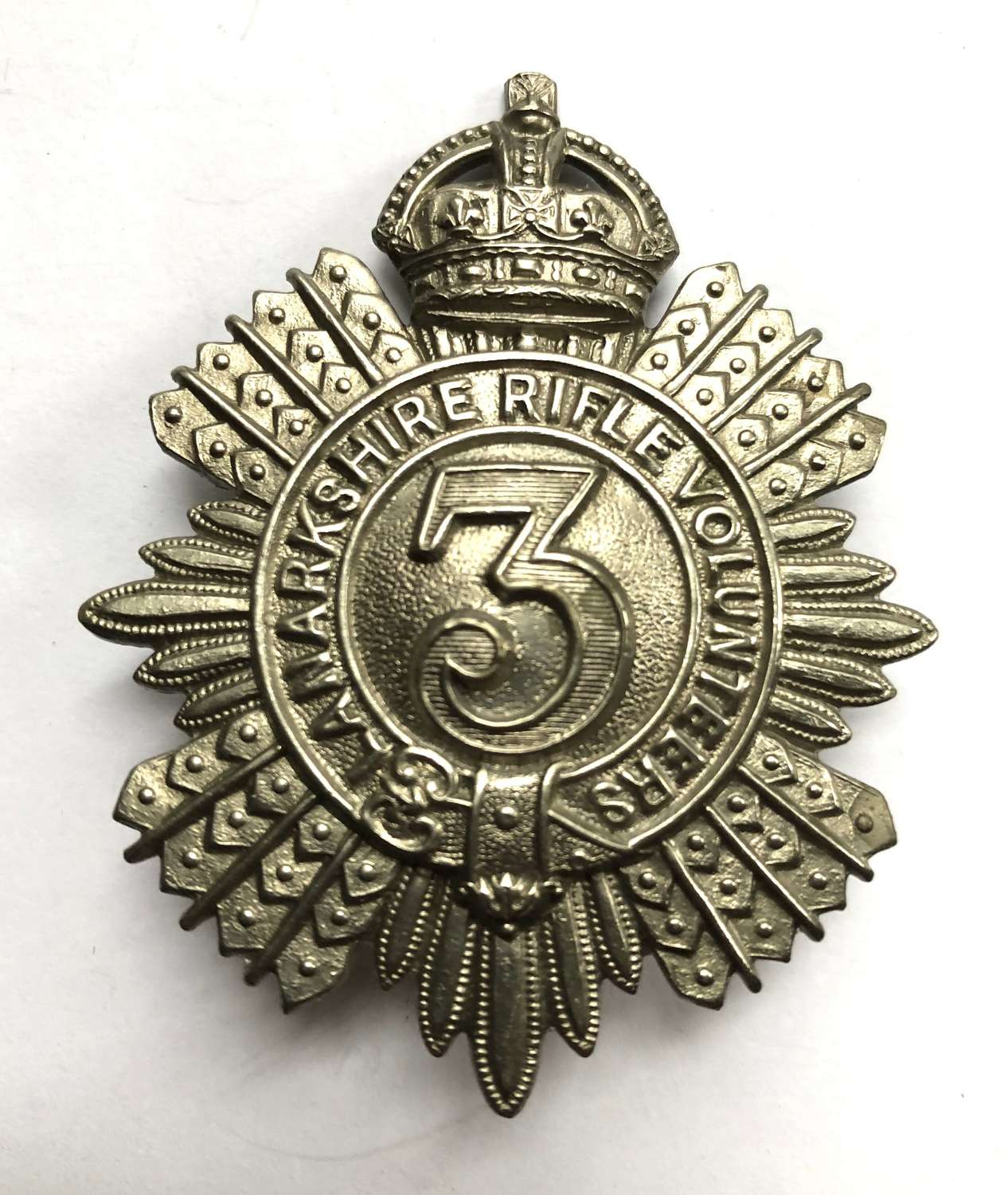 3rd Lanarkshire Rifle Volunteers Edwardian glengarry badge c1901-08