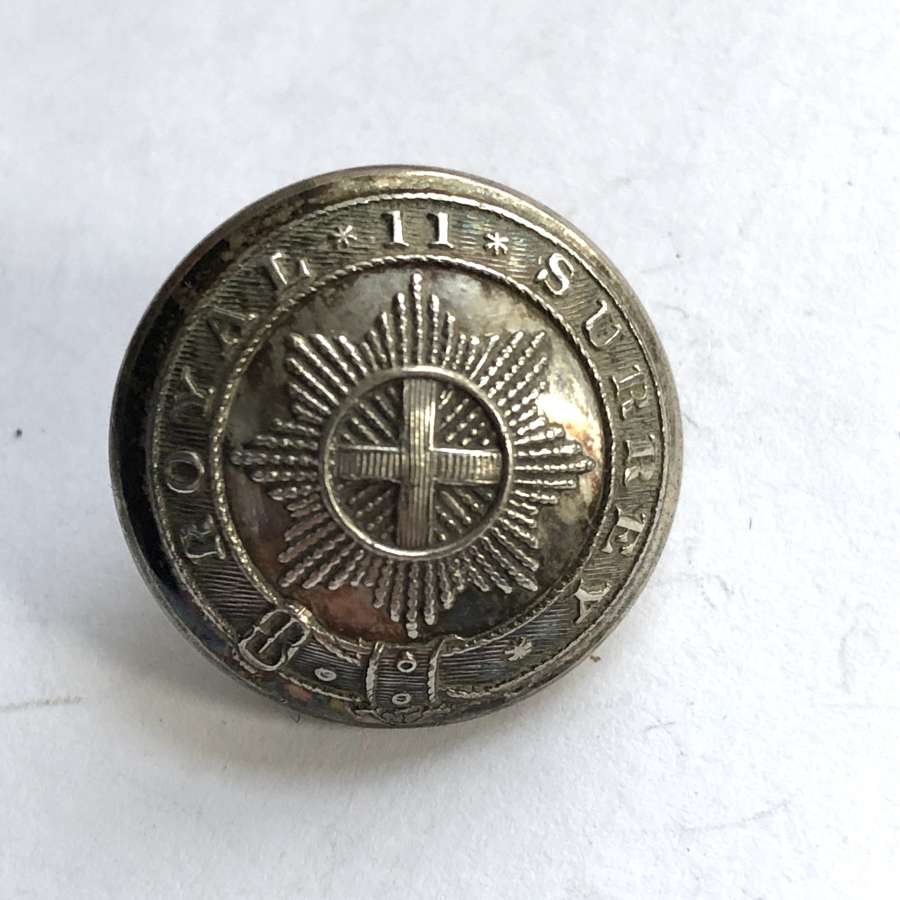 2nd Royal Surrey Militia Victorian Officer's silvered  coatee button